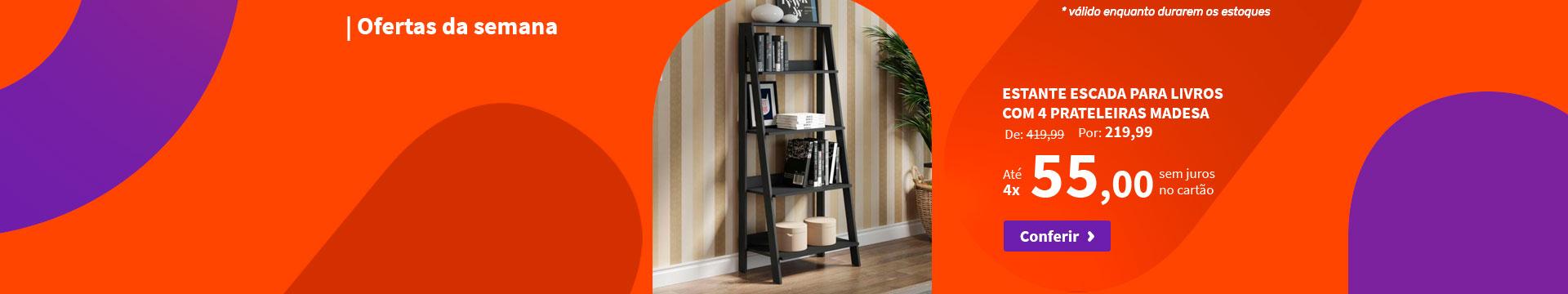 Estante Escada para Livros com 4 Prateleiras Madesa - Ofertas da semana
