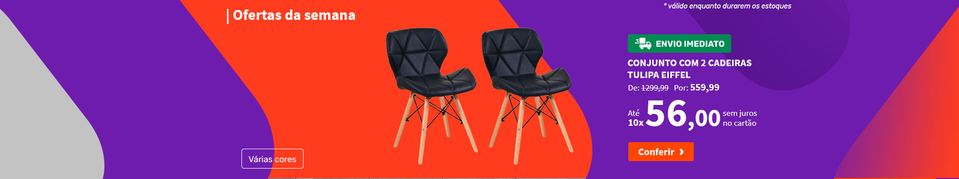 Conjunto com 2 Cadeiras Tulipa Eiffel - Ofertas da semana