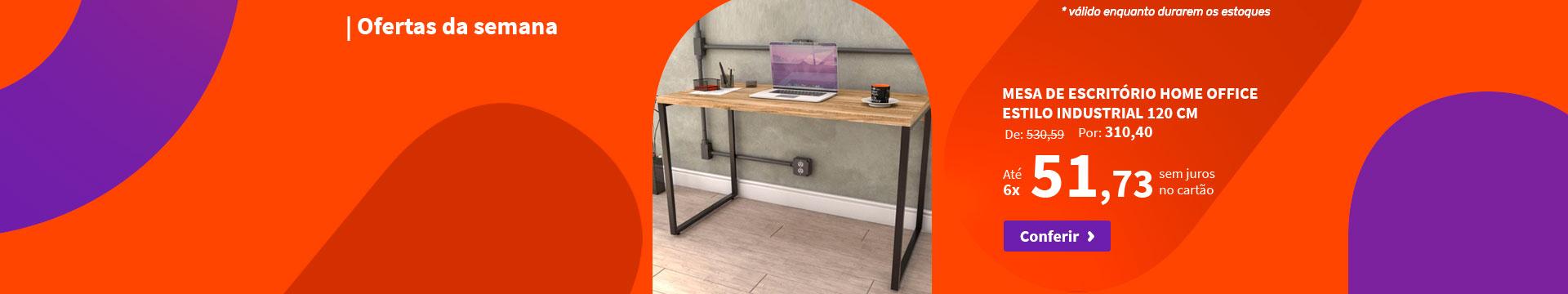 Mesa de Escritório Home Office Estilo Industrial 120 cm - Ofertas da semana