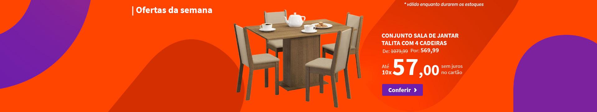 Conjunto Sala de Jantar Talita com 4 Cadeiras - Ofertas da semana
