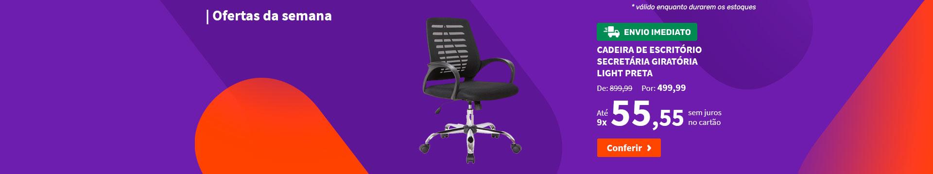Cadeira de Escritório Secretária Giratória Light Preta - Ofertas da semana