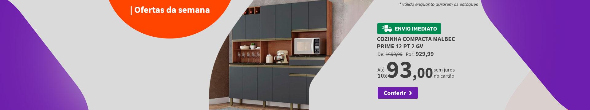 Cozinha Compacta Malbec Prime 12 PT 2 GV Castanho e Chumbo - Ofertas da semana