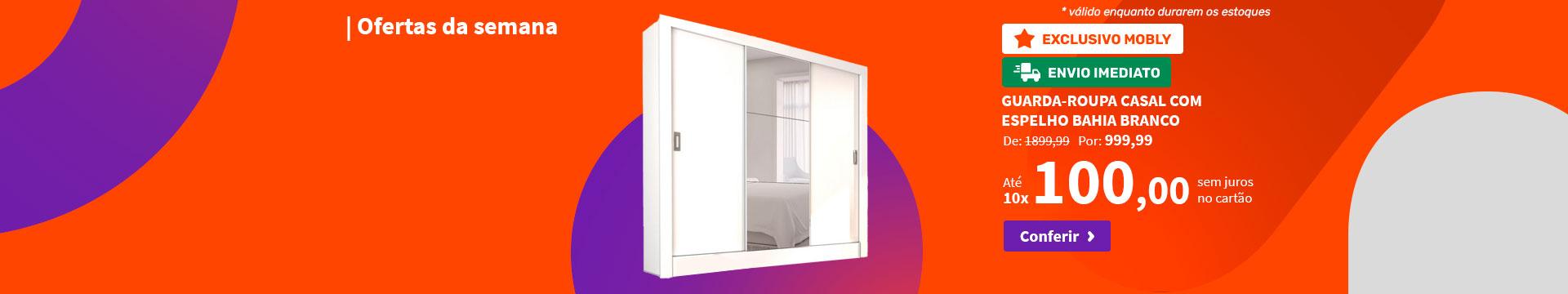 Guarda-Roupa Casal com Espelho Bahia Branco - Ofertas da semana