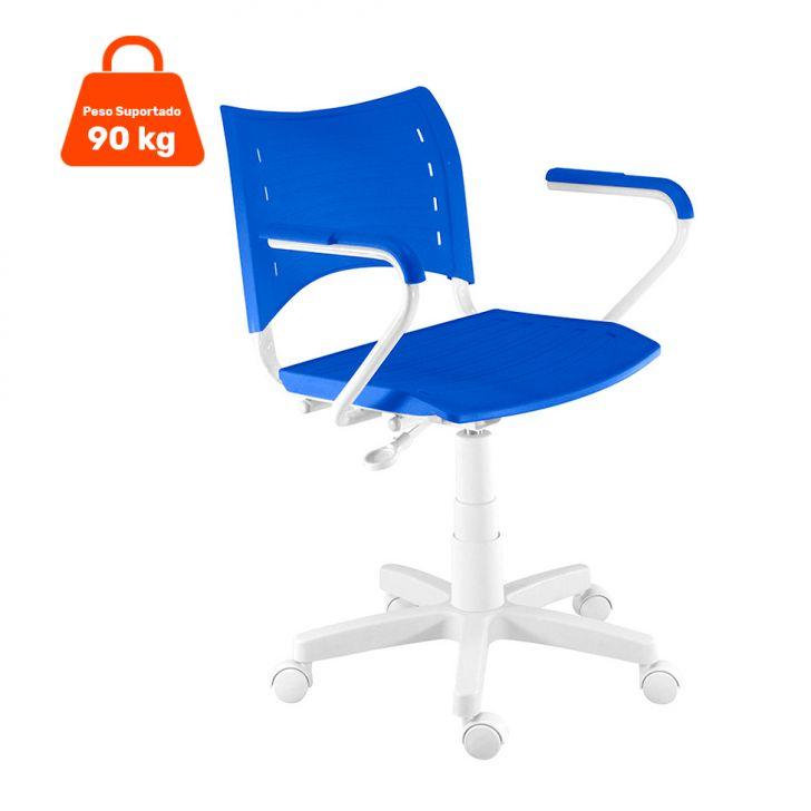 Cadeira de Escritório Evidence Giratória Branca e Azul