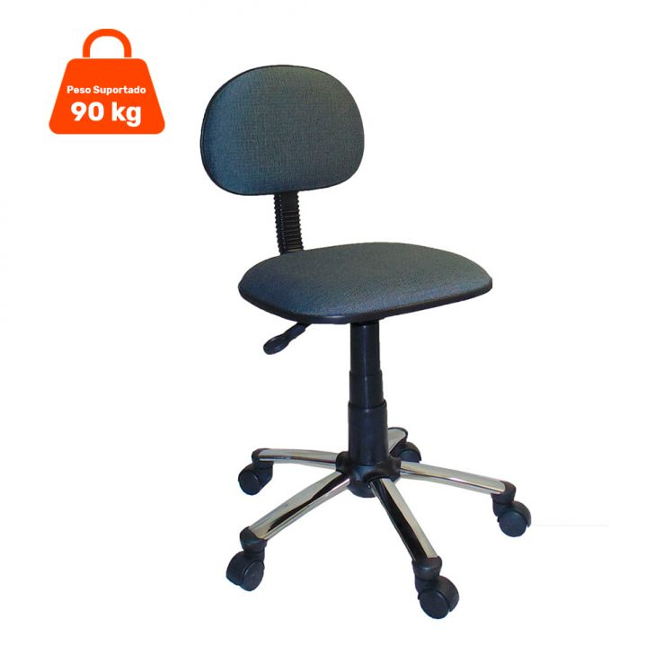 Cadeira de Escritório Secretária Giratória Cromada Com Cinza E Preta