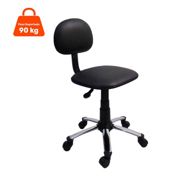Cadeira de Escritório Secretária Giratória Preta base Cromada