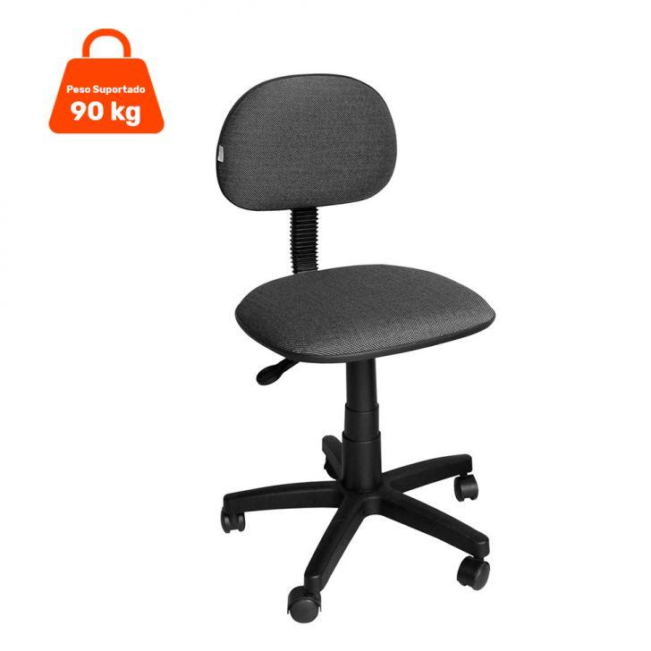Cadeira de Escritório Secretária Giratória Tecido Cinza E Preta