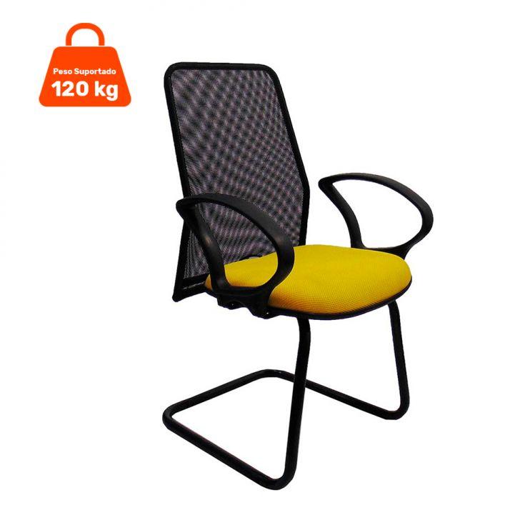 Cadeira de Escritório Tela Fixa Fixa Amarela