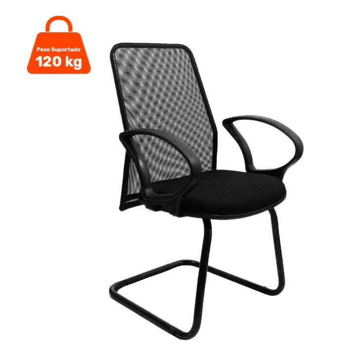 Cadeira de Escritório Tela Fixa Fixa Preta