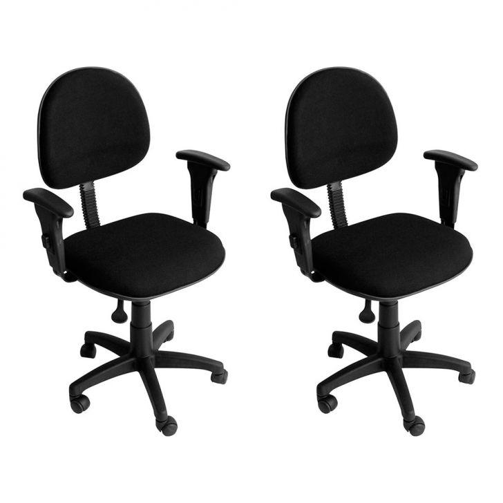 Conjunto 2 Cadeiras de Escritório Giratória Preta