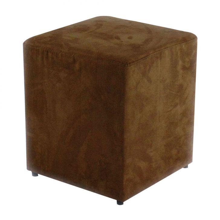 Puff Quadrado Box Suede Marrom