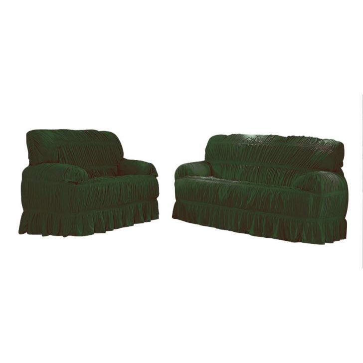 Capa para sofá Malha Verde Musgo VII 70x200 cm - 3 e 2 lugares