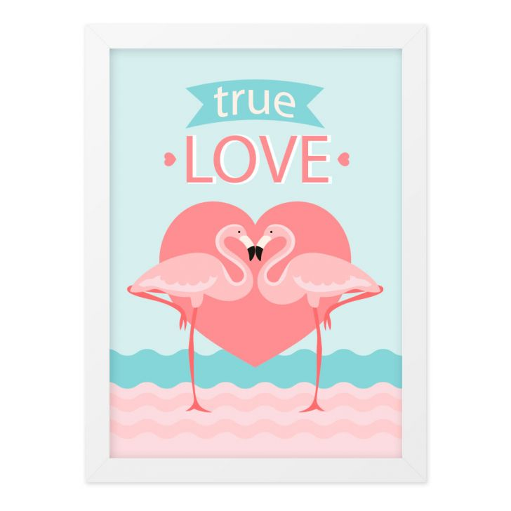 Quadro A4 Flamingo True Love