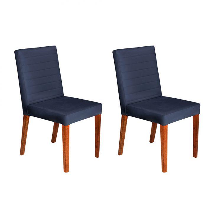 Conjunto com 2 Cadeiras Dóris Veludo Azul Marinho