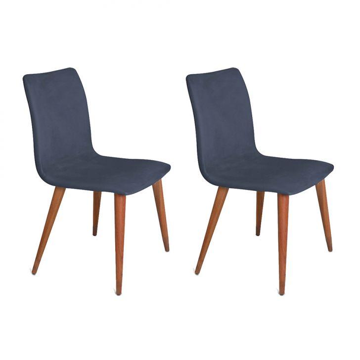 Conjunto com 2 Cadeiras Luanda Veludo Azul Marinho