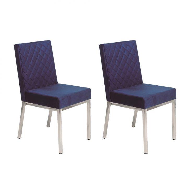 Conjunto com 2 Cadeiras Orquidea Veludo Azul