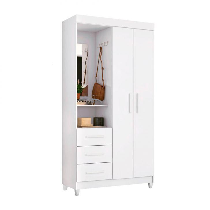 Guarda-Roupa Solteiro Flex Color com Espelho Quartzo 2 PT 3 GV Branco
