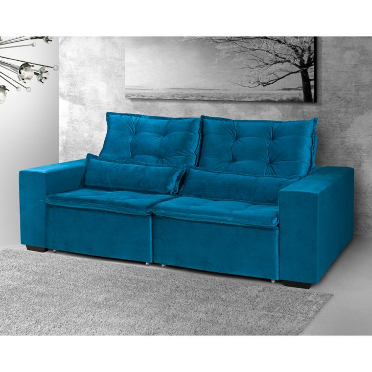 Sof 3 lugares retr til e reclin vel milano veludo azul for Sofa 7 lugares retratil e reclinavel firenze