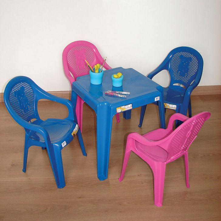 Cadeira de pl stico infantil decorada rosa for Mesas infantiles de plastico