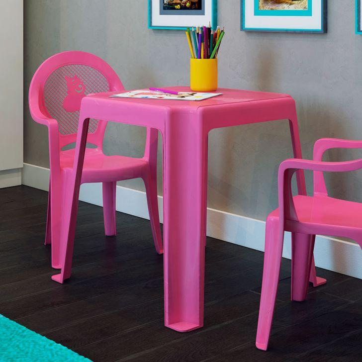 Mesa de pl stico infantil rosa for Mesas infantiles de plastico