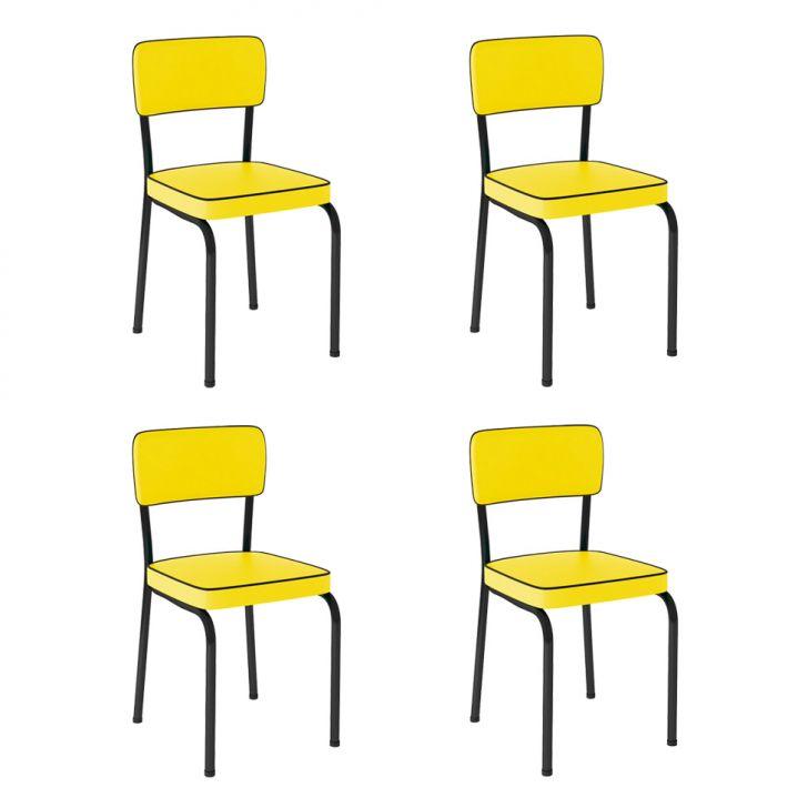Conjunto de 4 Cadeiras Vintage Amarela