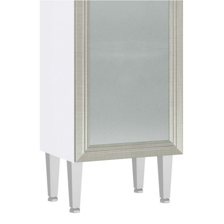 Cristaleira 1 Porta Vidro Mia Coccina 40x149 Branco Com Nude