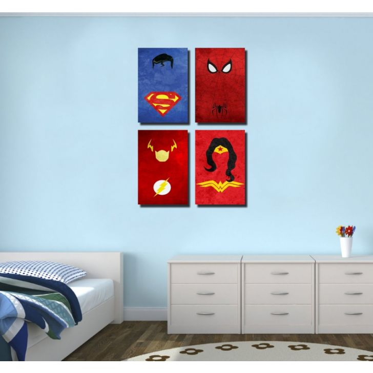 Kit 4 Quadros Super Heroes M1