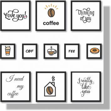Quadros Decorativos Coffe 11 peças DESCONTO DE R$: 30,00 (17,14% OFF) - OFERTA MOBLY