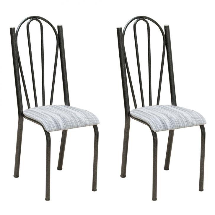 Conjunto 2 Cadeiras 021 Cromo Preto E Linho