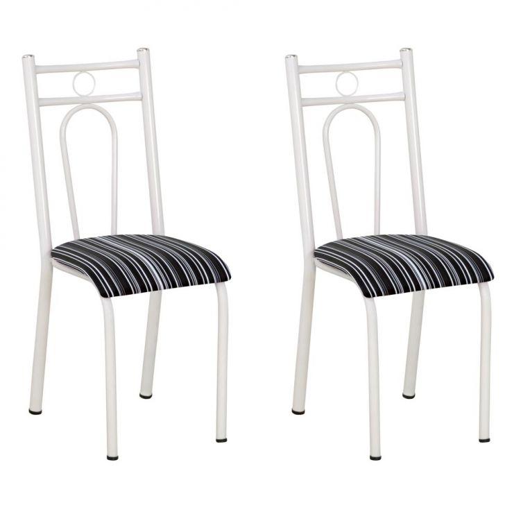 Conjunto 2 Cadeiras 023 Branco E Preto Listrado
