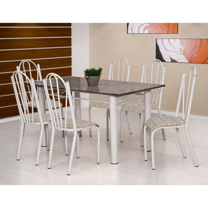 Conjunto de Mesa Luana com 6 Cadeiras Branca Rattan