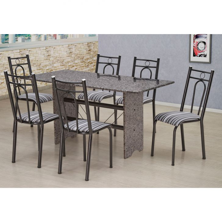 26110457a Conjunto de Mesa com 6 Cadeiras Pietra Craqueado Preto e Listrado Branco e  Preto