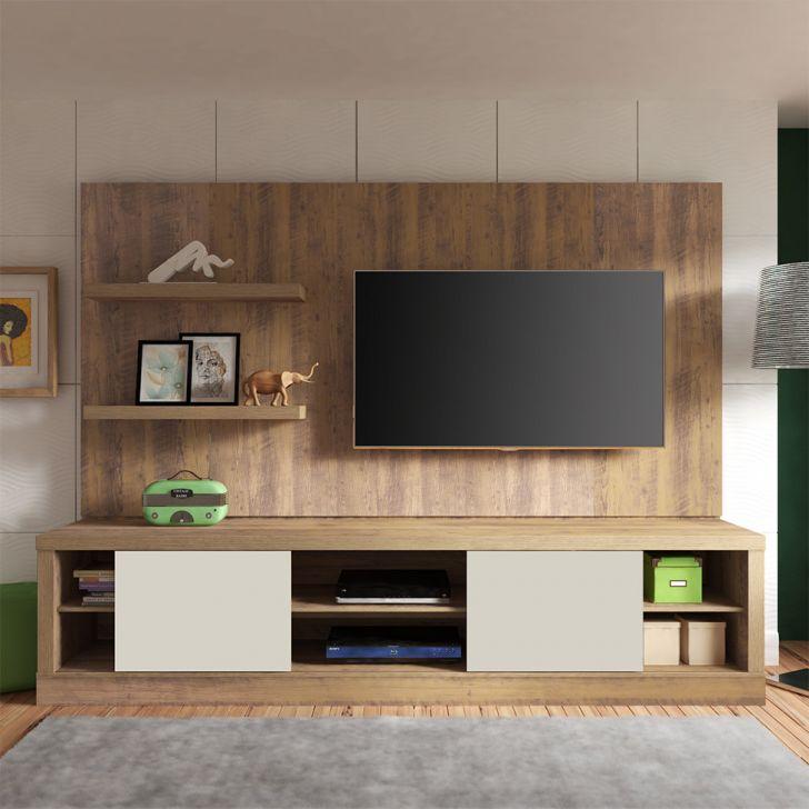Estante Home Theater Para Tv Até 55 Polegadas Aron: Estante Home Para TV Até 55 Polegadas Boss Pinho E Off