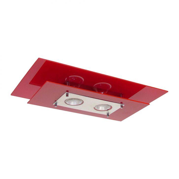 Plafon Retangular Palladium 2 Lâmpadas E27 Vermelho Attena