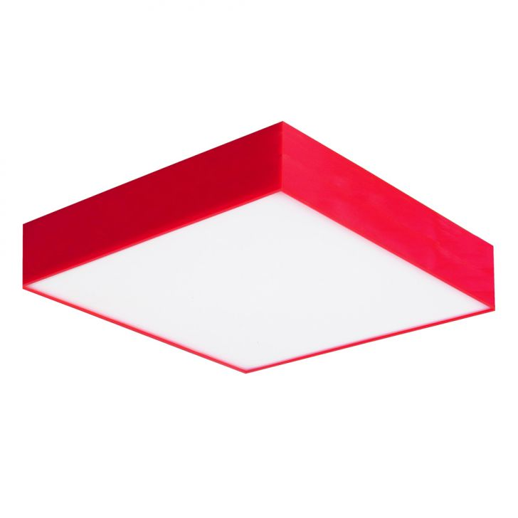 Plafon Sobrepor Acrilico Médio Vermelho Attena