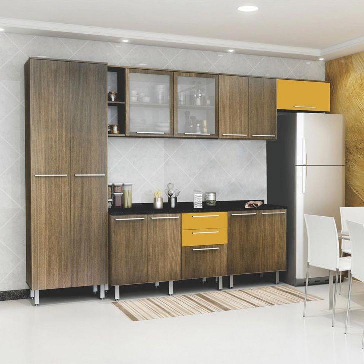 Cozinha Compacta Cheff II 11 PT 3 GV Carvalho e Amarelo Gema