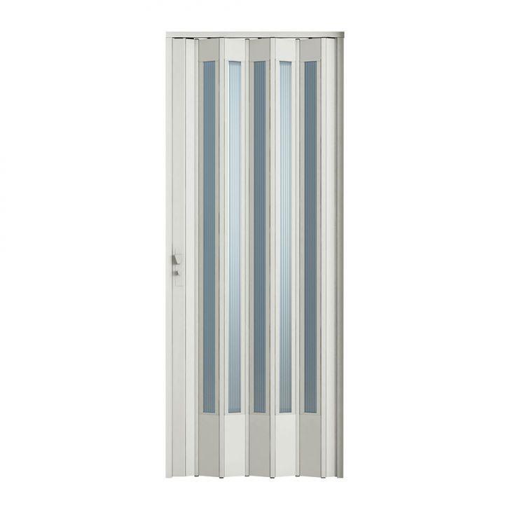 Porta Sanfonada Translucida Com Fechadura Branca 084X210