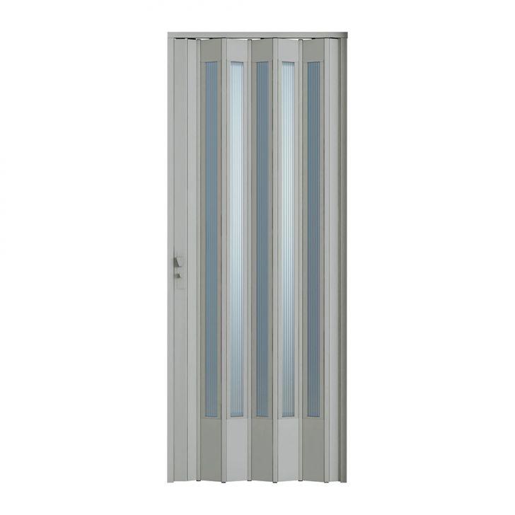 Porta Sanfonada Translucida Com Fechadura Cinza 072X210