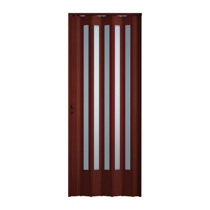 Porta Sanfonada Translucida Com Fechadura Mogno 096X210