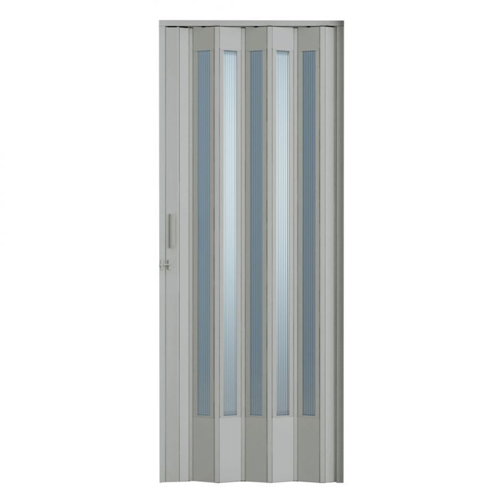 Porta Sanfonada Translucida Com Trinco Cinza 060X210