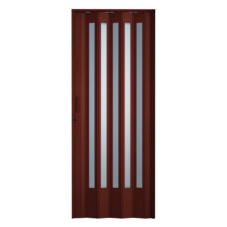 Porta Sanfonada Translucida Com Trinco Mogno 060X210