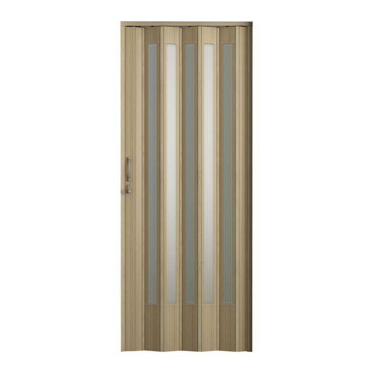 Porta Sanfonada Translucida Plus Com Trinco Carvalho Prata 096X210