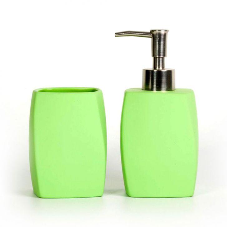 Conjunto de Bancada  2 Peças Color Verde Banho Mais