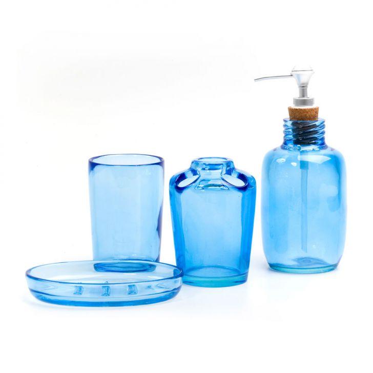 Conjunto de Bancada  4 Peças Clear Azul Banho Mais