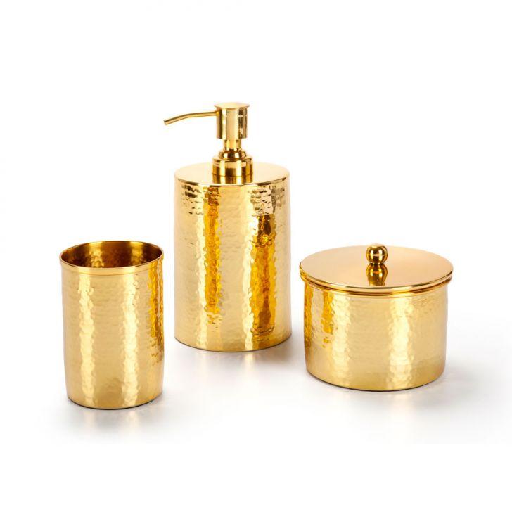 Conjunto de Bancada 3 Peças Gold Plus Dourado Banho Mais