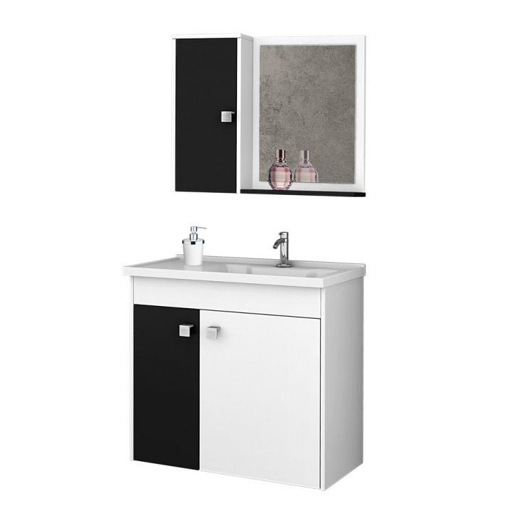 Foto 1 - Conjunto para Banheiro Munique Branco e Preto