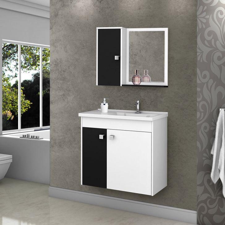 Foto 2 - Conjunto para Banheiro Munique Branco e Preto