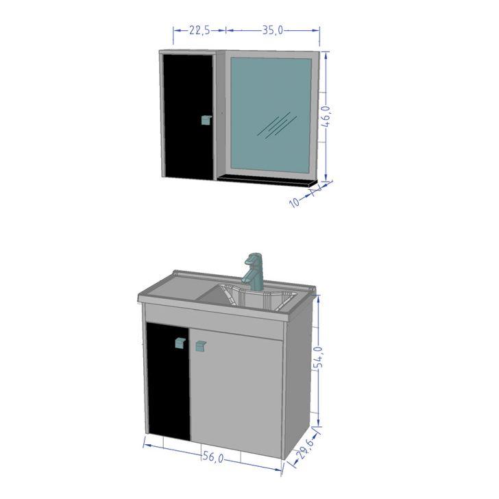 Foto 3 - Conjunto para Banheiro Munique Branco e Preto