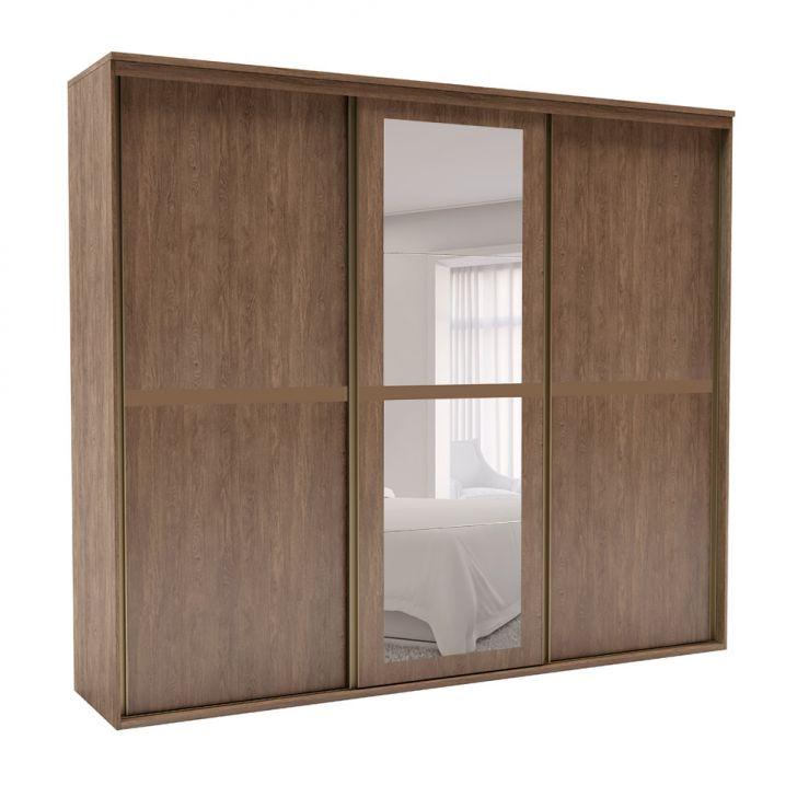 Guarda-Roupa Casal Sofisticato I com Espelho 3 PT 6 GV Ébano
