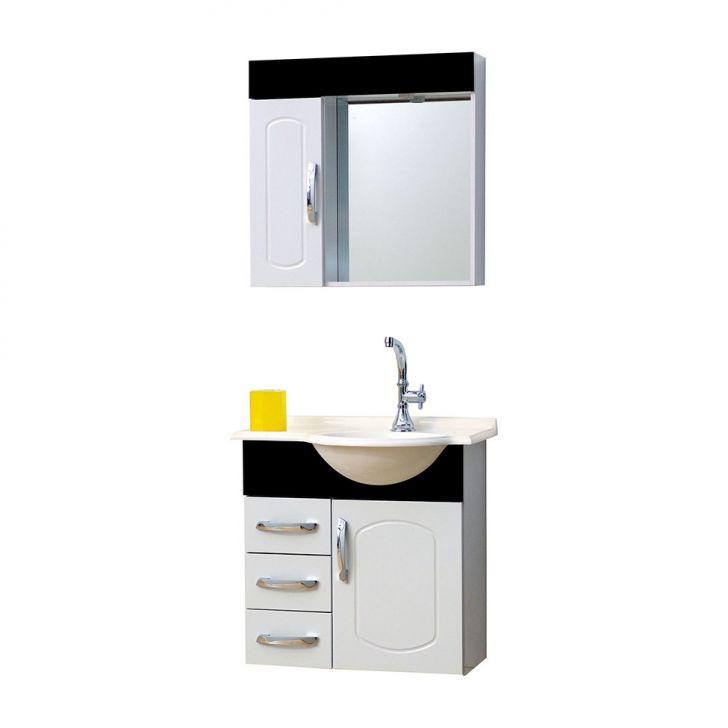 Conjunto Gabinete Aspen KCG64 Branco com Preto